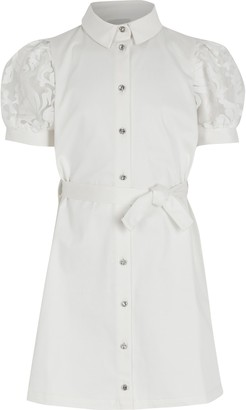 River Island Girls White puff organza sleeve shirt dress