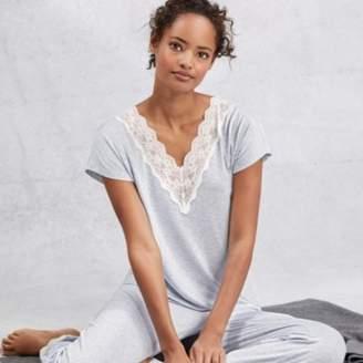 The White Company Deep V Lace Pyjama Set, Pale Blue Marl, Extra Small