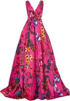 Monique Lhuillier Sleeveless Floral Ball Gown