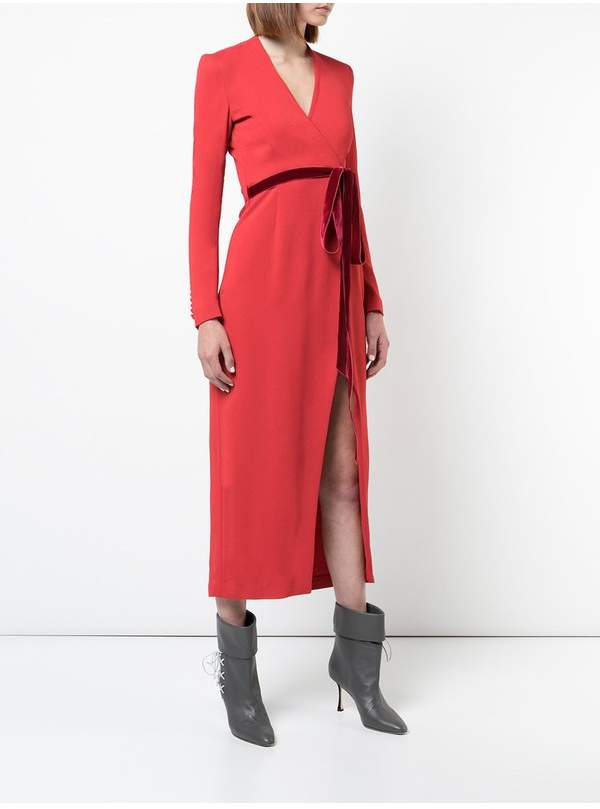 ADAM by Adam Lippes Stretch Crepe Long Sleeve Midi Wrap Dress With Velvet Ribbon Belt