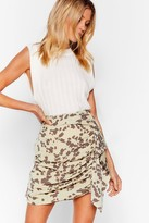 Thumbnail for your product : Nasty Gal Womens Cow Print Ruched Ruffle Mini Skirt - Green - 4