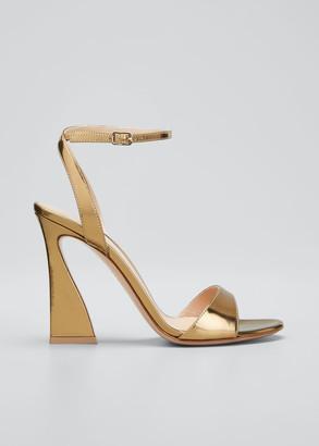 Gianvito Rossi 105mm Metallic Ankle-Strap Sandals