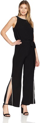 MSK Women's Split Jumpsuit with Neck and Pant Rhinestone Trim