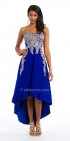 Camille La Vie Satin Applique High Low Evening Dress