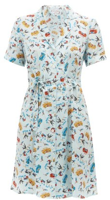 HVN Maria Car-print Silk Mini Dress - Womens - Light Blue