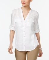 INC International Concepts Petite Ribbed-Side Shirt, Created for Macy's