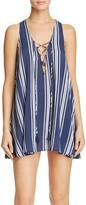 Show Me Your Mumu Rancho Mirage Striped Lace Up Mini Dress