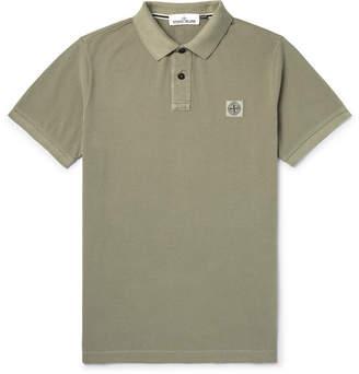 Stone Island Slim-Fit Logo-Appliqued Garment-Dyed Cotton-Pique Polo Shirt