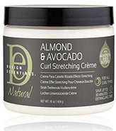 Natural curl Design Essentials Stretching Crème to Elongate, Define, Smooth Medium to Course Natural Hair Textures-Almond & Avocado Collection, 16oz.