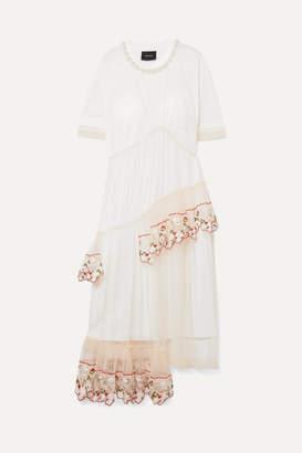 Simone Rocha Layered Embellished Tulle And Cotton-jersey Midi Dress - White
