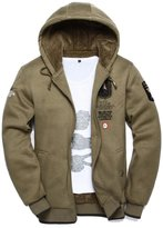 JIAX Men's Winter Warm Hooded Sweater Coat Military Air Force Bomber Jacket