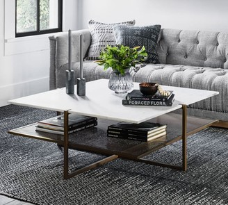 "Pottery Barn Hyla 41"" Marble Coffee Table"