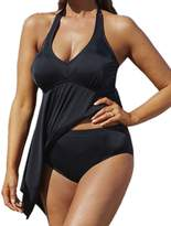 Crazycatz@Women Plus size Two piece Swimwear Swimdress+Short