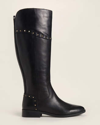 Marc Fisher Black Secalm Studded Tall Leather Boots