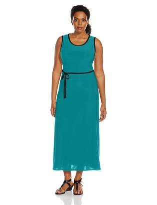 Star Vixen Women's Plus-Size Sleeveless Maxi Skater Dress with Contrast Piping and Tie Belt