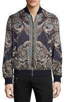 Versace Baroque Reversible Bomber Jacket, Black