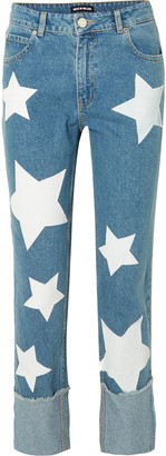 House of Holland Printed High-rise Straight-leg Jeans