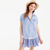 J.Crew Tall short-sleeve popover in cross-dyed Irish linen