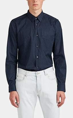 Theory Men's Irving Circle-Print Cotton Poplin Shirt - Navy