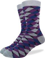 Good Luck Sock Men's Geometric Squares Crew Socks