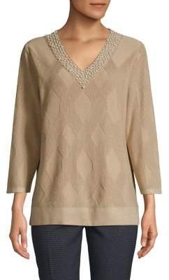 Karl Lagerfeld Paris Faux Pearl-Embellished V-Neck Sweater