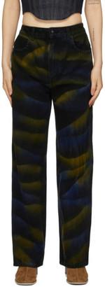 Eckhaus Latta Black Dyed Wide-Leg Jeans