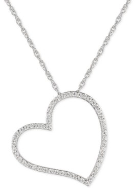 """Macy's Cubic Zirconia Heart 16"""" Pendant Necklace in Sterling Silver"""