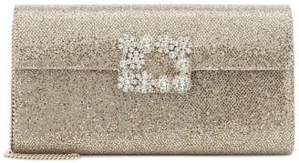 Roger Vivier Flower Strass Envelope glitter clutch