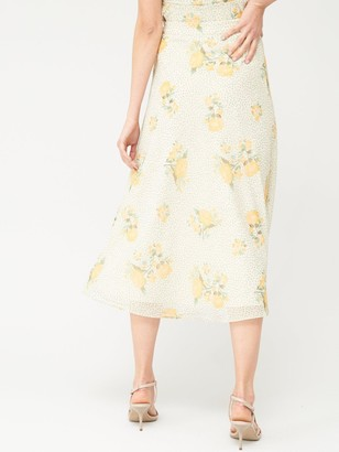 Very Chiffon Printed Midi Skirt - Floral