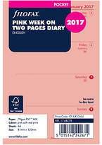 Filofax Week On 2 Pages 2017 Diary Inserts, Pocket, Pink