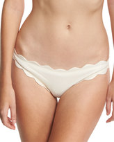 Marysia Swim Antibes Scalloped Swim Bottom, Metallic Champagne