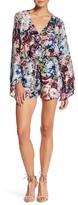 Charlie Jade Floral Print Silk Long Sleeve Surplice Romper
