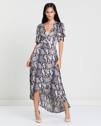 Missguided Printed Wrap Front Low High Midi Dress