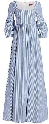 STAUD Plumeria Stripe Bell-Sleeve A-Line Maxi Dress