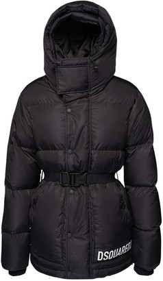 DSQUARED2 Belted Nylon Down Jacket W/ Hooded Vest