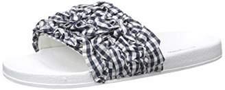 Dearfoams Women's Ruffle Molded Footbed Slide Slipper