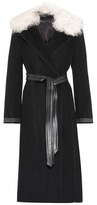 Helmut Lang Fur and leather-trimmed wool and cashmere coat