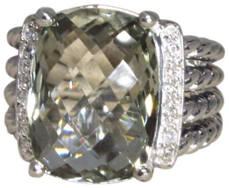 David Yurman 925 Sterling Silver with Prasiolite & Diamond Ring Size 7
