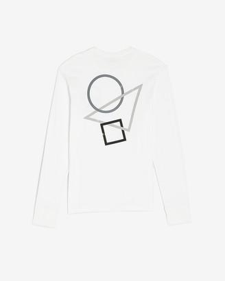 Express White Geometric Long Sleeve Graphic T-Shirt
