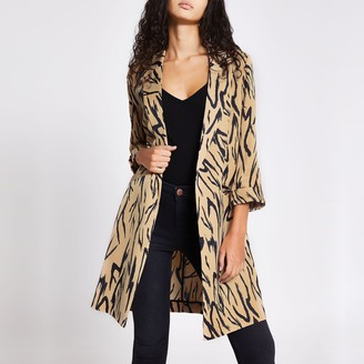 River Island Womens Beige printed longline duster jacket