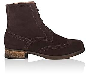 Barneys New York WOMEN'S SUEDE WINGTIP ANKLE BOOTS - BROWN SIZE 7