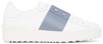 Valentino White and Blue Garavani Rockstud Open Sneakers