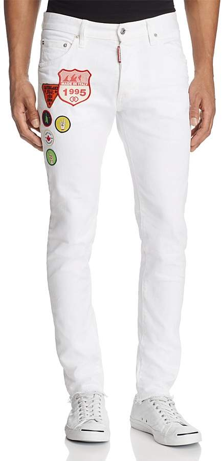 DSQUARED2 Dan Patched Skinny Fit Jean in White