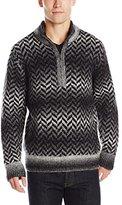 DKNY Men's Long Sleeve Space Dye/ Herringbone Jacquard V-Neck Sweater