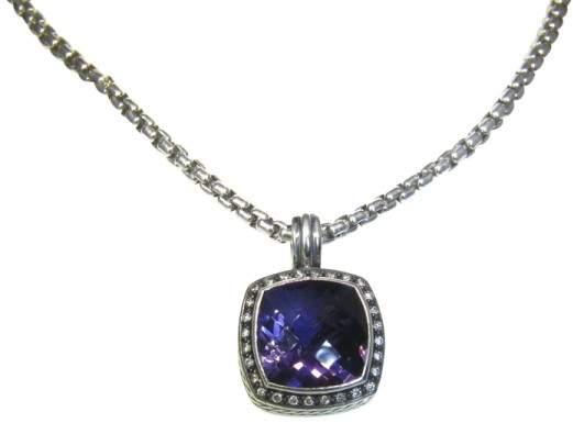 David Yurman .925 Sterling Silver Moonlight Amethyst Diamond Enhancer