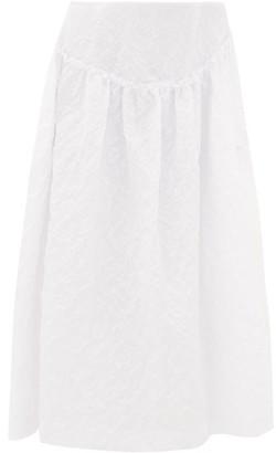 Simone Rocha Ruffled Floral-cloque Midi Skirt - Womens - White