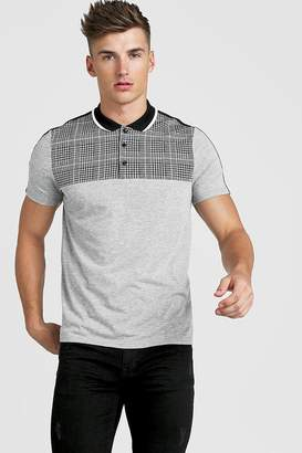 BoohoomanBoohooMAN Mens Grey Check Taped Polo Shirt, Grey