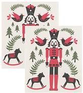 Now Designs 2102045aa Swedish Dishcloth, Set of Two Print, Nutcracker, 2 Piece
