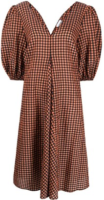 Ganni checked V-neck dress