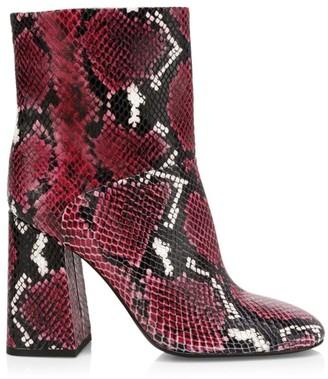 Alice + Olivia Diya Snakeskin-Embossed Leather Ankle Boots